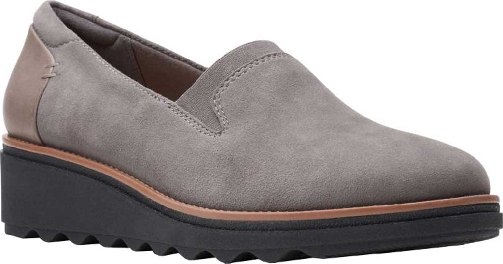 Women's Clarks Sharon Dolly Loafer, Grey/Dark Tan Welt Suede, large, image 1