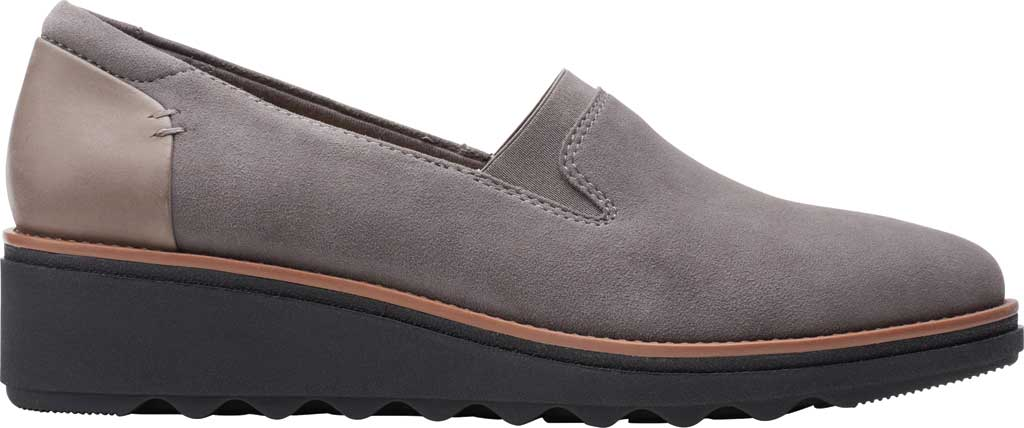Women's Clarks Sharon Dolly Loafer, Grey/Dark Tan Welt Suede, large, image 2