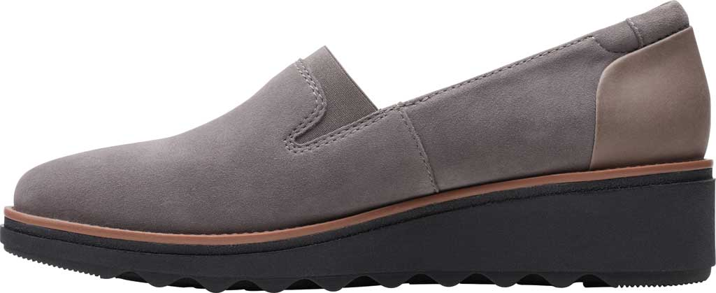 Women's Clarks Sharon Dolly Loafer, Grey/Dark Tan Welt Suede, large, image 3