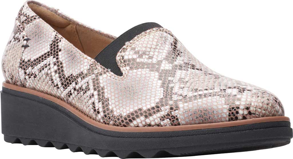 Women's Clarks Sharon Dolly Loafer, Brown Snake Synthetic, large, image 1