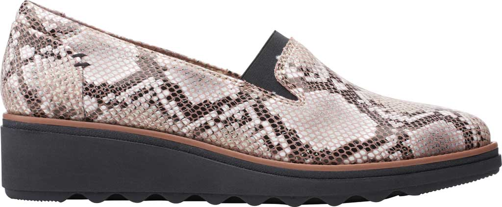 Women's Clarks Sharon Dolly Loafer, Brown Snake Synthetic, large, image 2