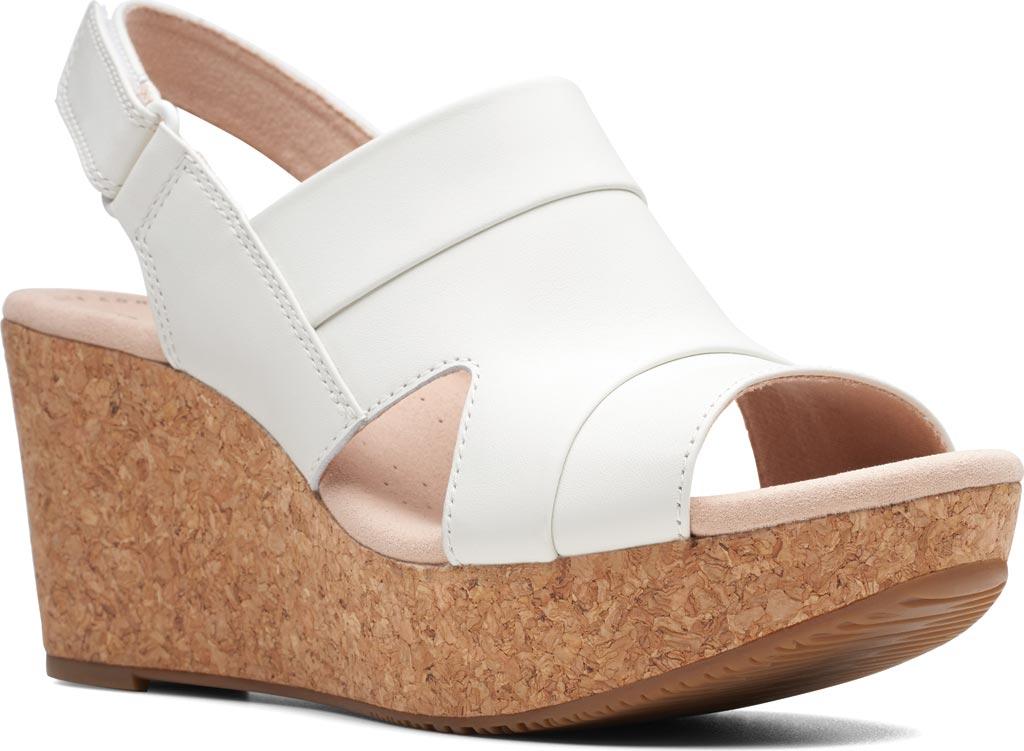 Women's Clarks Annadel Ivory Wedge Sandal, White Leather, large, image 1