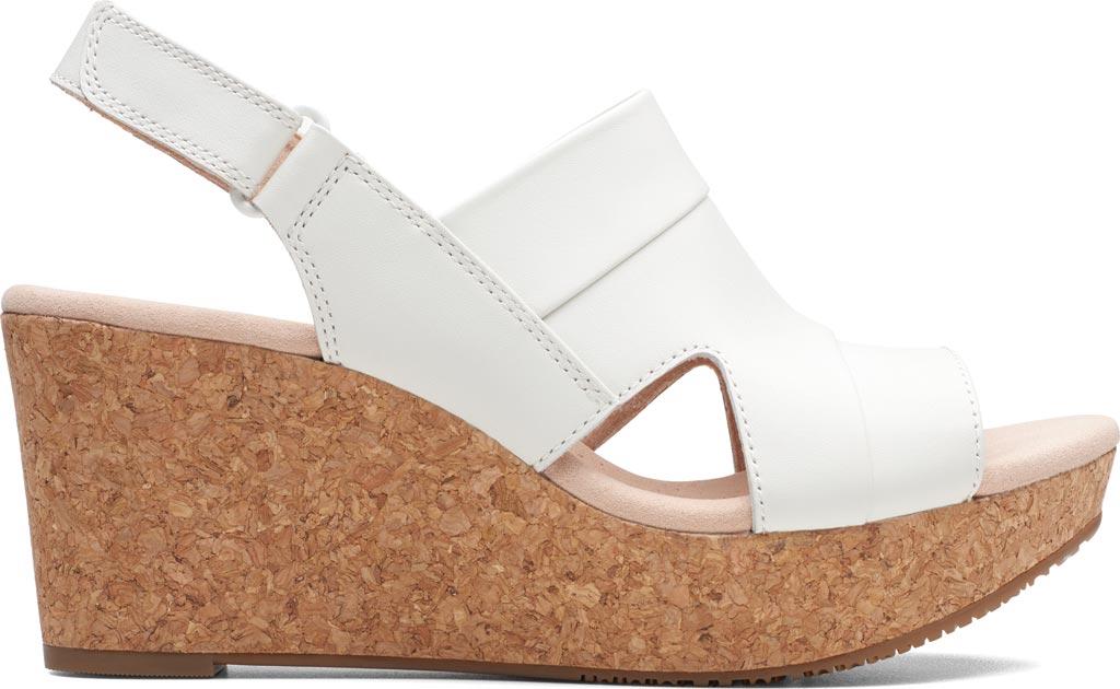 Women's Clarks Annadel Ivory Wedge Sandal, White Leather, large, image 2
