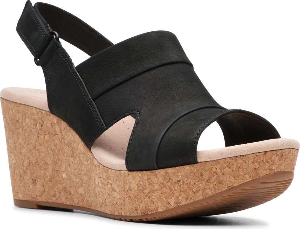 Women's Clarks Annadel Ivory Wedge Sandal, Black Nubuck, large, image 1