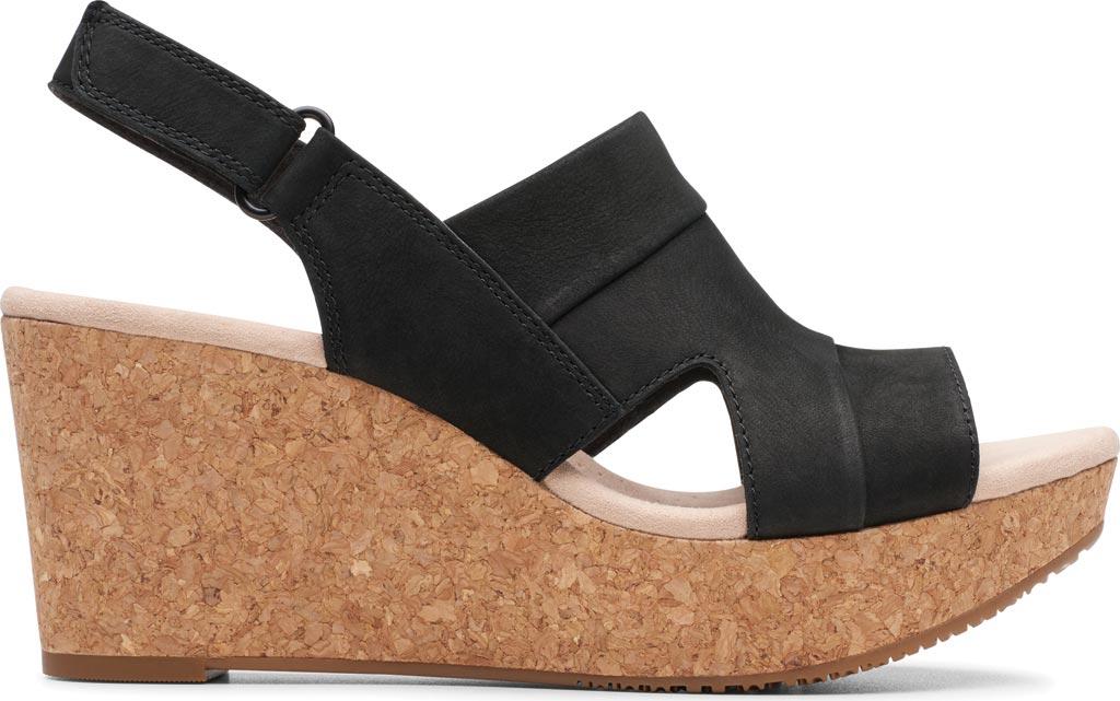 Women's Clarks Annadel Ivory Wedge Sandal, Black Nubuck, large, image 2