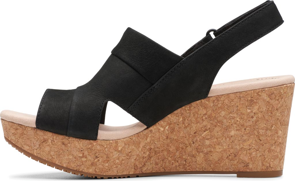 Women's Clarks Annadel Ivory Wedge Sandal, Black Nubuck, large, image 3