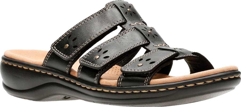 Women's Clarks Leisa Spring Strappy Sandal, Black Full Grain Leather, large, image 1