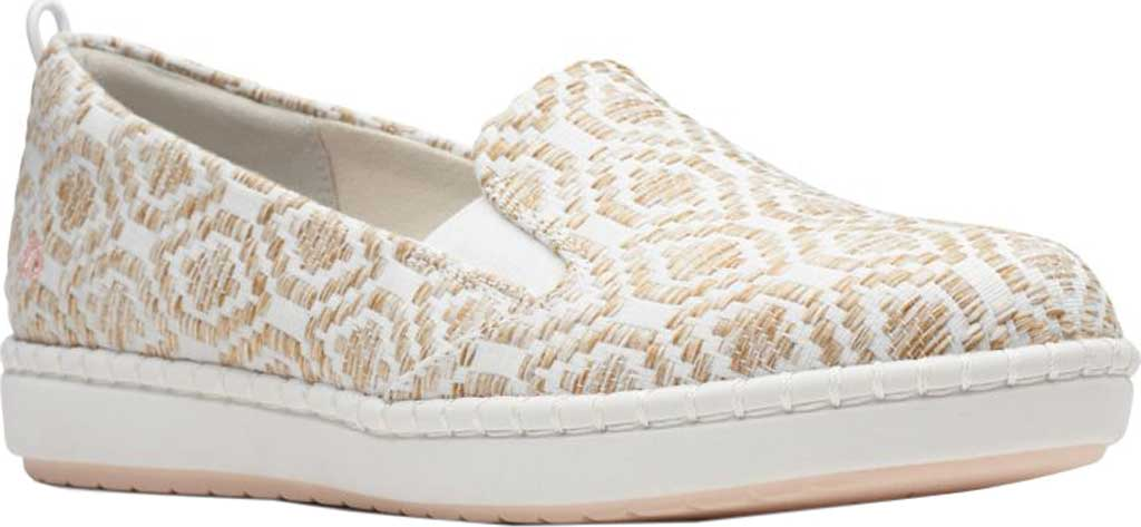 Women's Clarks Step Glow Slip-On, Natural/White Weave, large, image 1