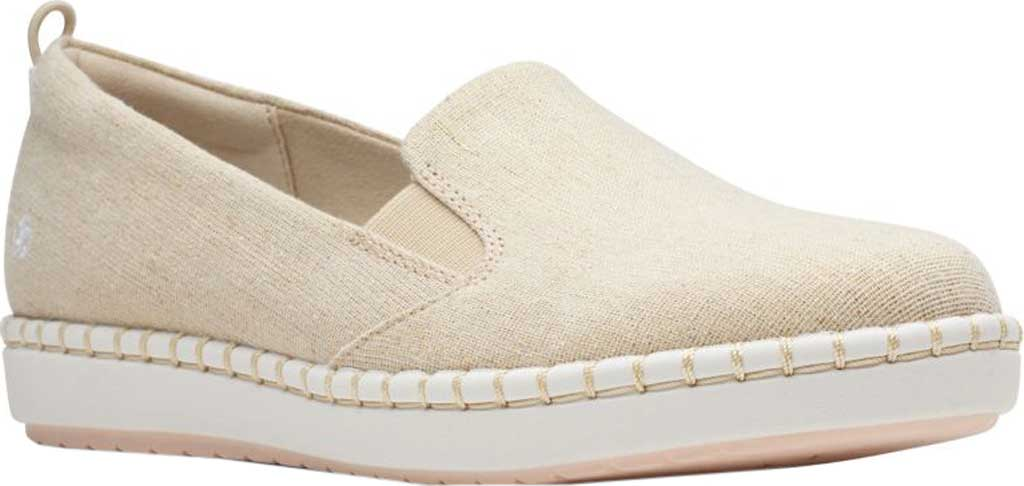 Women's Clarks Step Glow Slip-On, Soft Gold Canvas, large, image 1