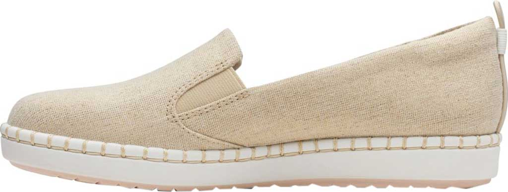 Women's Clarks Step Glow Slip-On, Soft Gold Canvas, large, image 2