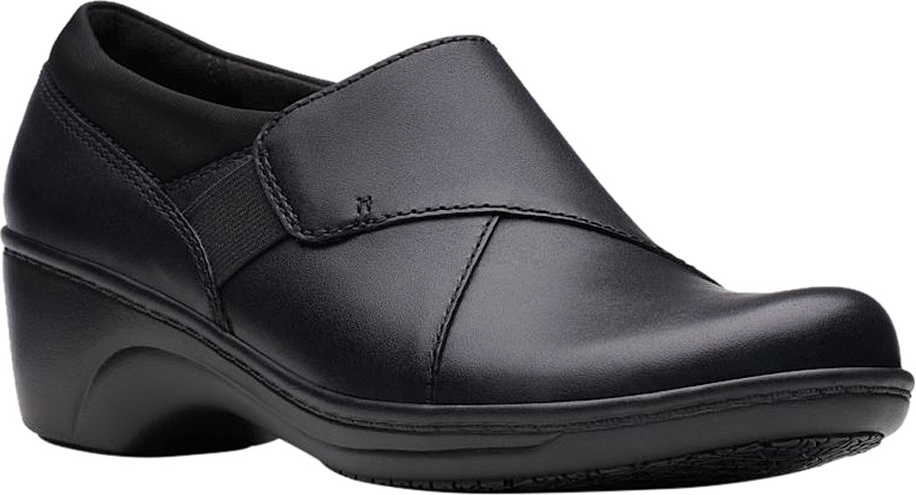 Women's Clarks Grasp High Slip-Resistant Shoe, Black Leather, large, image 1
