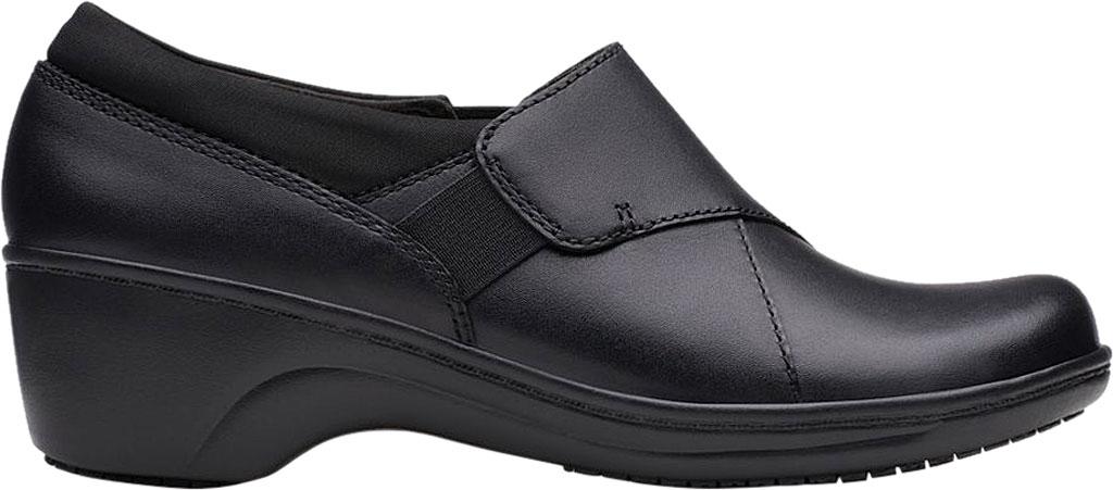 Women's Clarks Grasp High Slip-Resistant Shoe, Black Leather, large, image 2