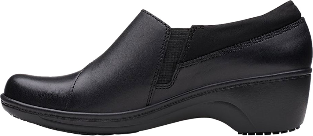 Women's Clarks Grasp High Slip-Resistant Shoe, Black Leather, large, image 3