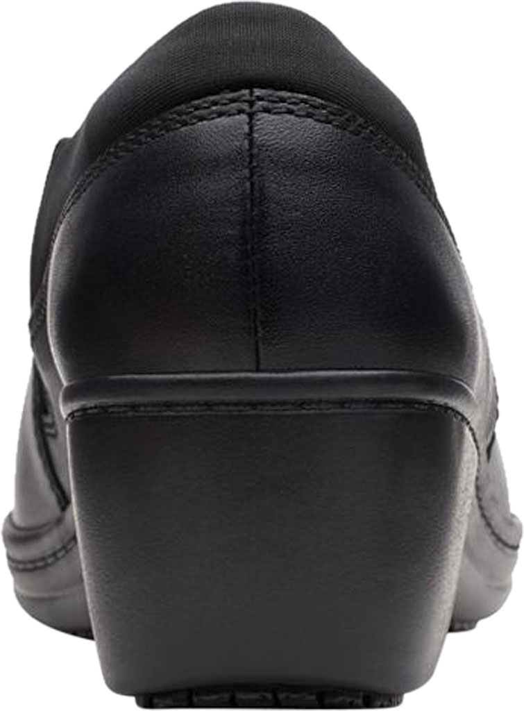 Women's Clarks Grasp High Slip-Resistant Shoe, Black Leather, large, image 4