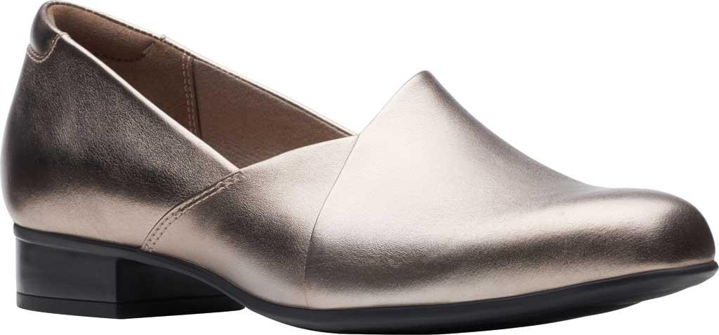 Women's Clarks Juliet Palm Loafer, Pewter Metallic Full Grain Leather, large, image 1