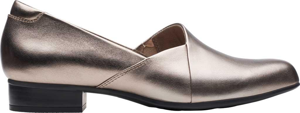Women's Clarks Juliet Palm Loafer, Pewter Metallic Full Grain Leather, large, image 2