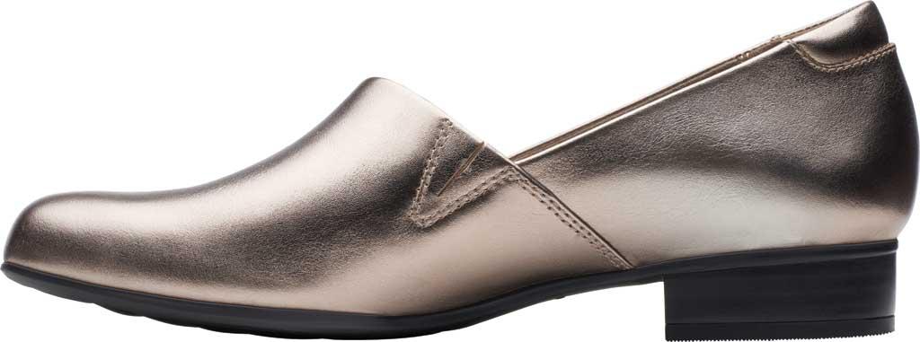 Women's Clarks Juliet Palm Loafer, Pewter Metallic Full Grain Leather, large, image 3