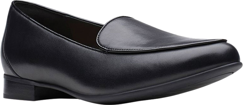 Women's Clarks Un Blush Ease Loafer, Black Leather, large, image 1