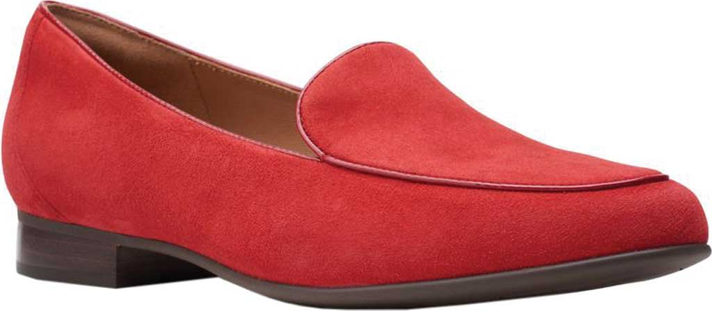 Women's Clarks Un Blush Ease Loafer, Red Suede, large, image 1
