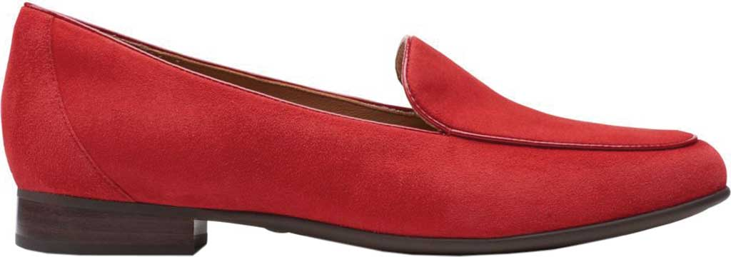 Women's Clarks Un Blush Ease Loafer, Red Suede, large, image 2