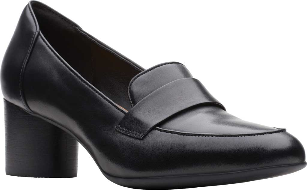 Women's Clarks Un Cosmo Way Loafer, Black Full Grain Leather, large, image 1
