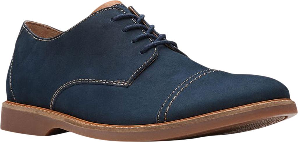 Men's Clarks Atticus Cap Toe Oxford, Navy Nubuck Leather, large, image 1