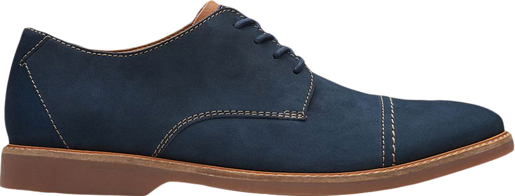 Men's Clarks Atticus Cap Toe Oxford, Navy Nubuck Leather, large, image 2