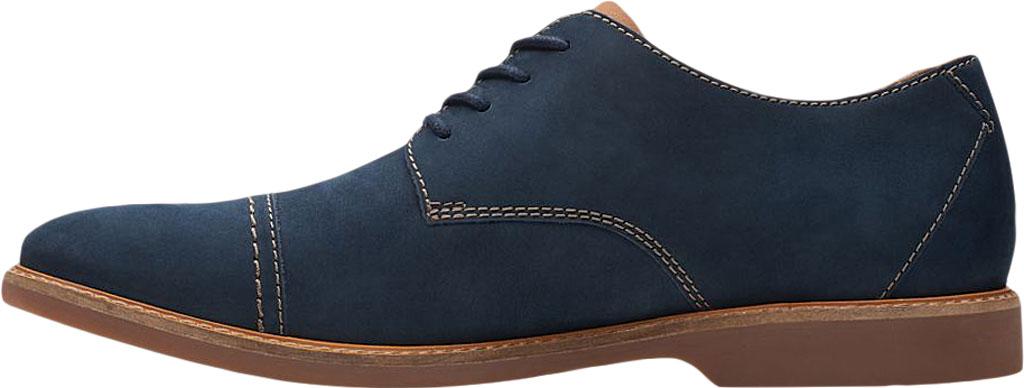 Men's Clarks Atticus Cap Toe Oxford, Navy Nubuck Leather, large, image 3