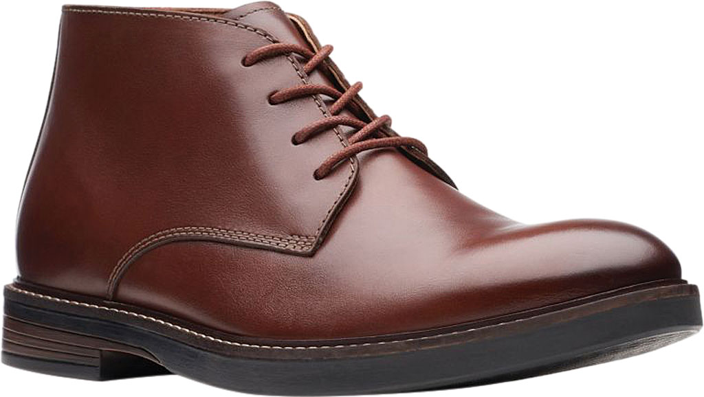 Men's Clarks Paulson Mid Chukka Boot, Mahogany Full Grain Leather, large, image 1