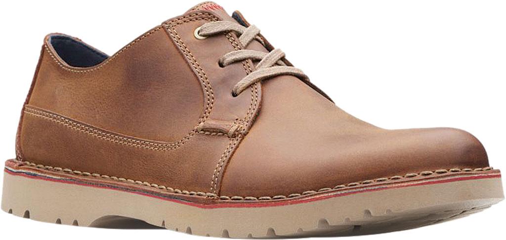 Men's Clarks Vargo Plain Oxford, Dark Tan Full Grain Leather, large, image 1