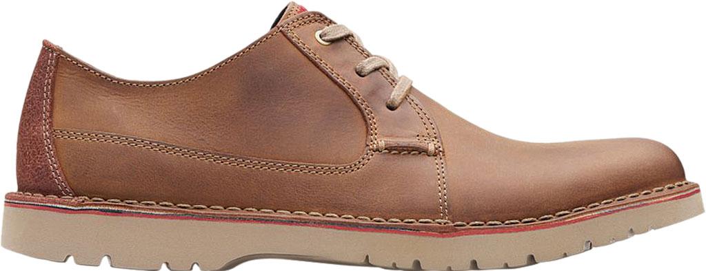Men's Clarks Vargo Plain Oxford, Dark Tan Full Grain Leather, large, image 2
