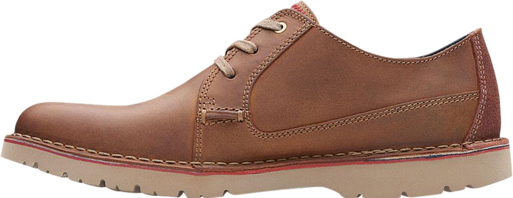 Men's Clarks Vargo Plain Oxford, Dark Tan Full Grain Leather, large, image 3