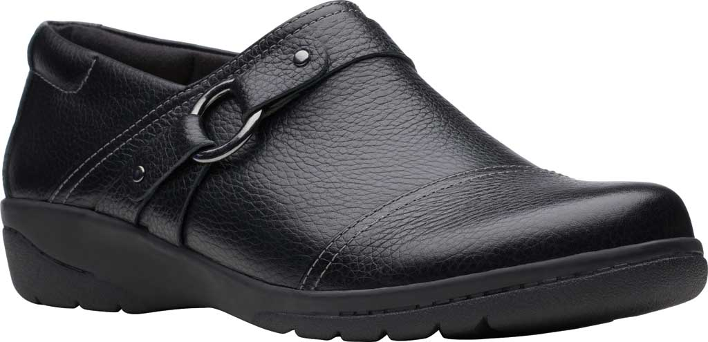 Women's Clarks Cheyn Fame Clog, Black Tumbled Leather, large, image 1