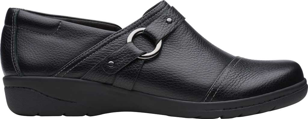 Women's Clarks Cheyn Fame Clog, Black Tumbled Leather, large, image 2