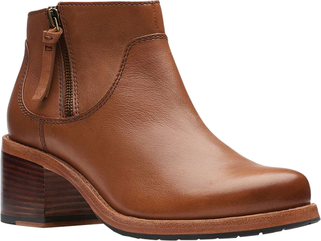 Women's Clarks Clarkdale Dawn Ankle Bootie, Dark Tan Leather, large, image 1