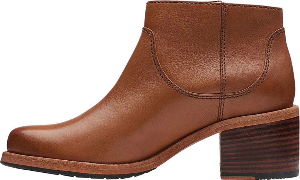 Women's Clarks Clarkdale Dawn Ankle Bootie, Dark Tan Leather, large, image 3