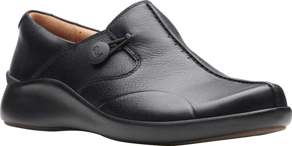 Women's Clarks Un.Loop 2 Walk Loafer, Black Tumbled Leather, large, image 1