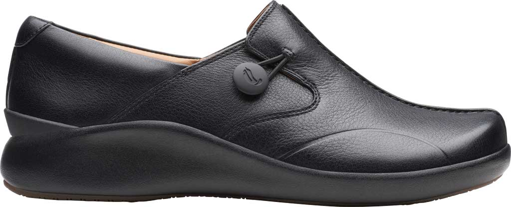 Women's Clarks Un.Loop 2 Walk Loafer, Black Tumbled Leather, large, image 2