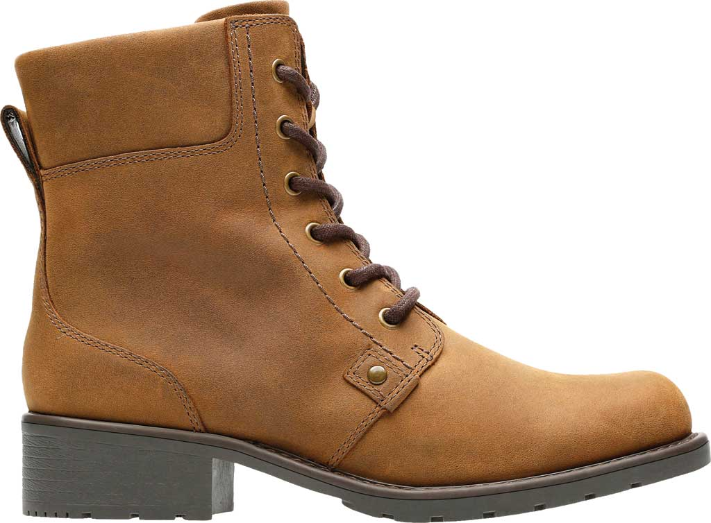 Women's Clarks Orinoco Spice Ankle Boot, Brown Snuff Full Grain Leather, large, image 2
