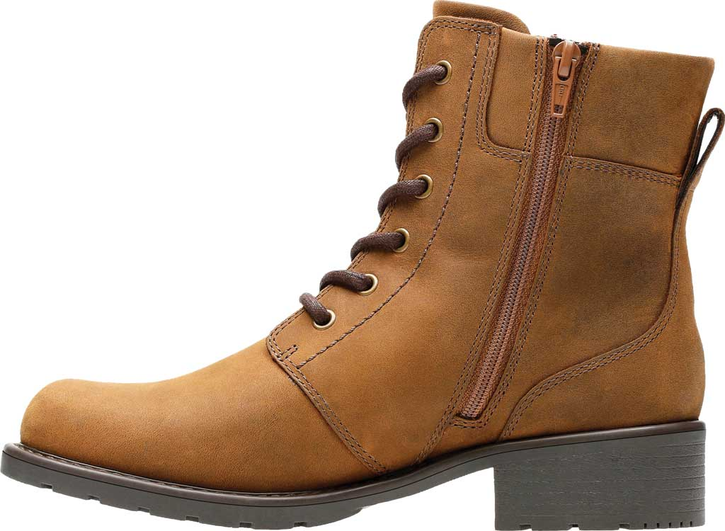 Women's Clarks Orinoco Spice Ankle Boot, Brown Snuff Full Grain Leather, large, image 3