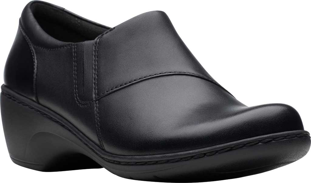 Women's Clarks Channing Fiona Clog, Black Full Grain Leather, large, image 1