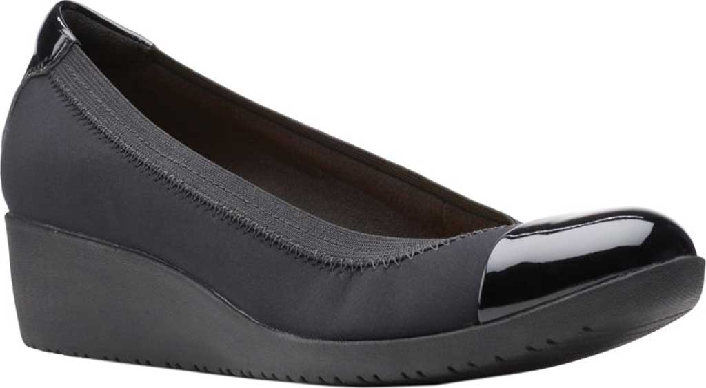 Women's Clarks Elin Palm Wedge Heel, Black Textile/Synthetic Patent, large, image 1