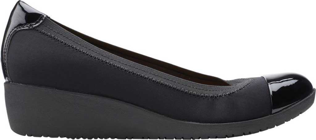 Women's Clarks Elin Palm Wedge Heel, Black Textile/Synthetic Patent, large, image 2