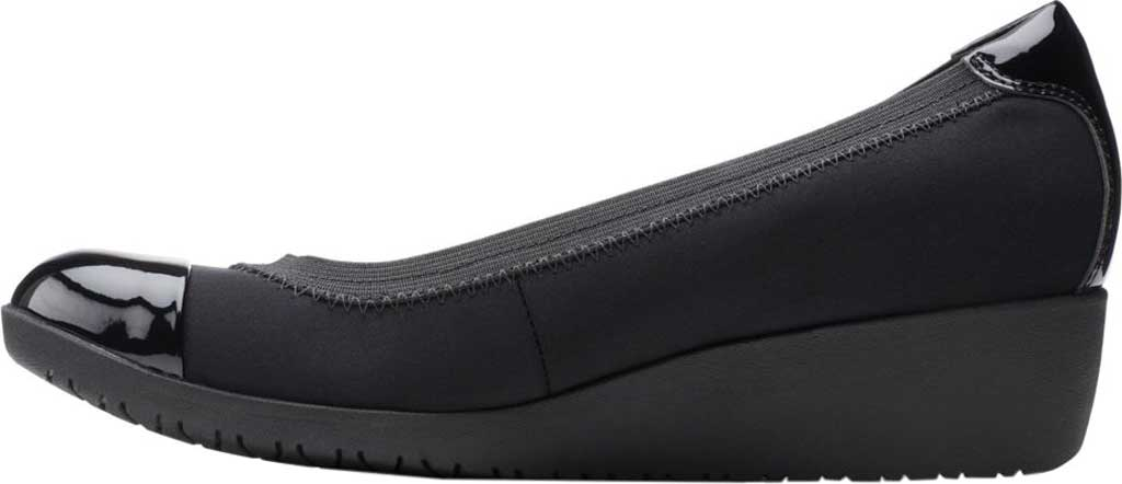 Women's Clarks Elin Palm Wedge Heel, Black Textile/Synthetic Patent, large, image 3