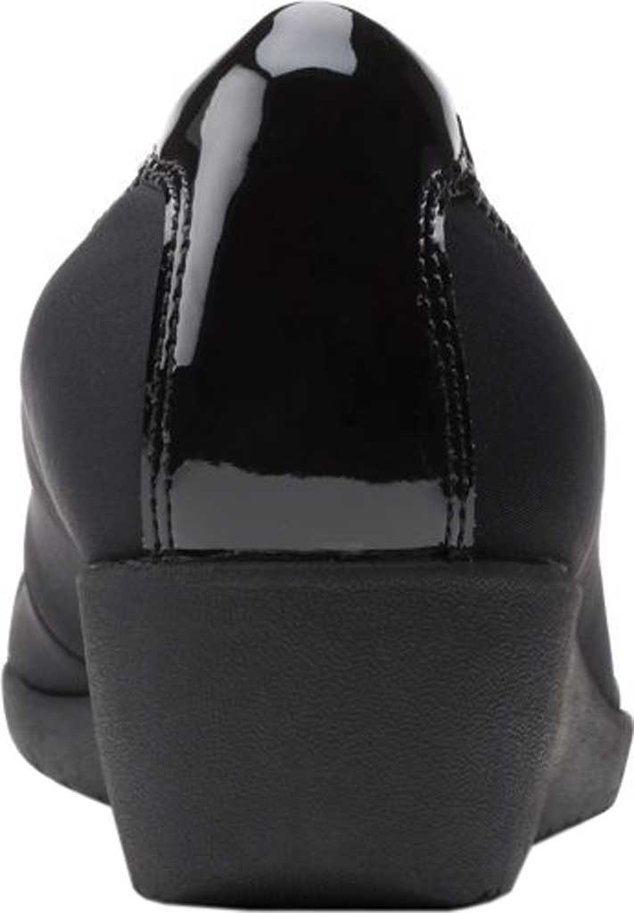 Women's Clarks Elin Palm Wedge Heel, Black Textile/Synthetic Patent, large, image 4