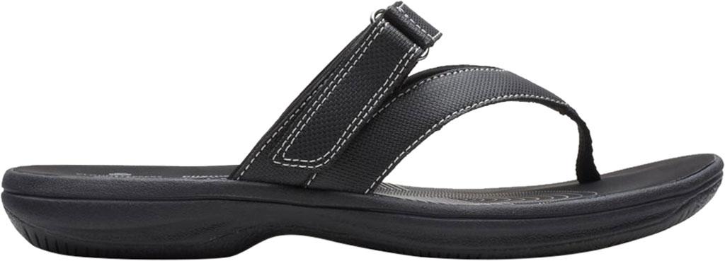 Women's Clarks Brinkley Marin Thong Sandal, Black Polyurethane, large, image 2
