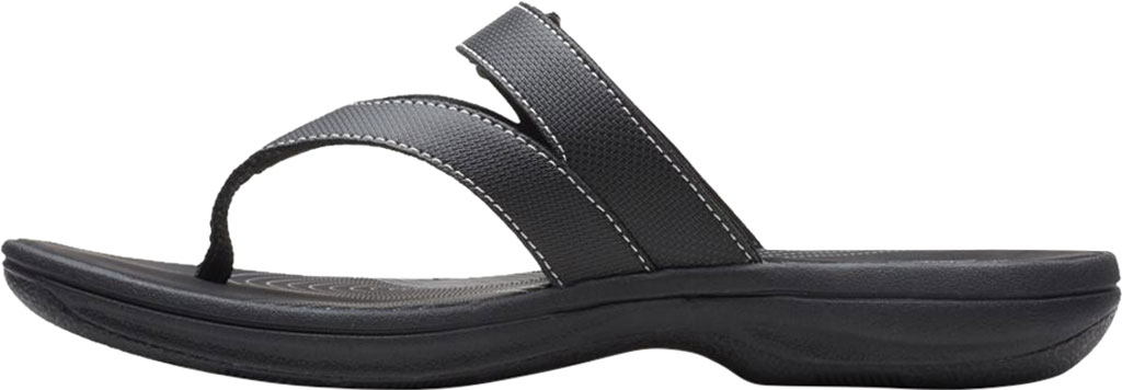 Women's Clarks Brinkley Marin Thong Sandal, Black Polyurethane, large, image 3