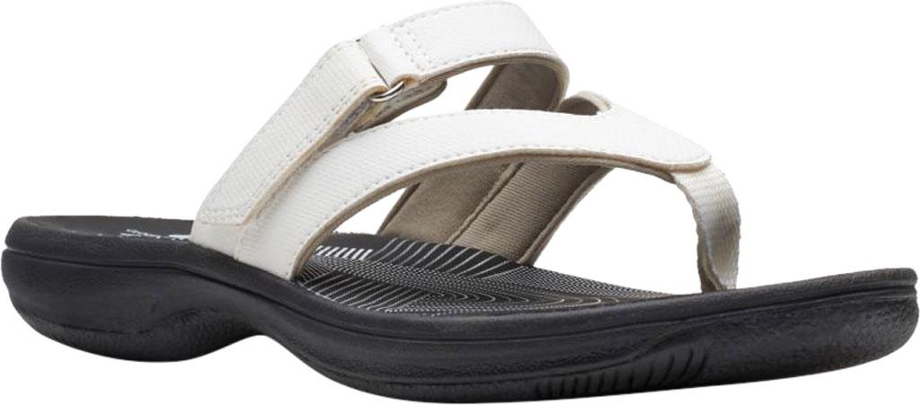 Women's Clarks Brinkley Marin Thong Sandal, White Polyurethane, large, image 1