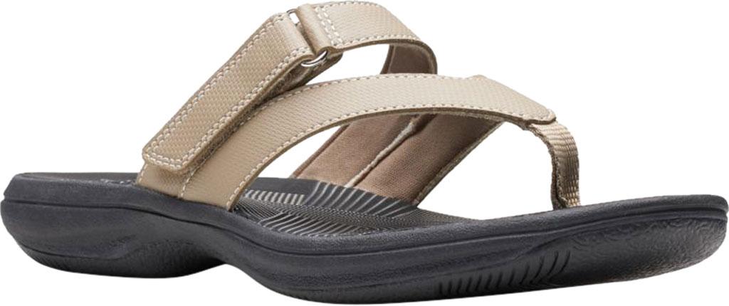 Women's Clarks Brinkley Marin Thong Sandal, Taupe Polyurethane, large, image 1