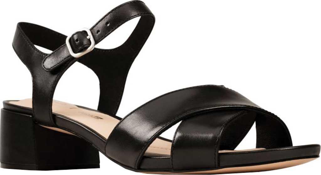 Women's Clarks Sheer35 Cross Strap Sandal, Black Leather, large, image 1